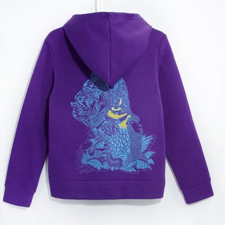 Hooded Wind Jacket bristles handle travel - South American Indians (purple)
