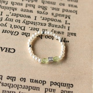 Journal (letter B - Bowknot meticulous soft ring) - Silver hand made, freshwater pearl, peridot