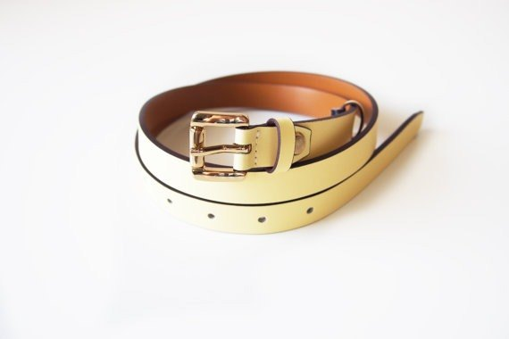 Light yellow genuine leather belt with gold square buckle - woman belt