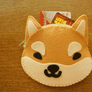 [Mangogirl] Department of super warm. Shiba hand-made zipper purse. Brown