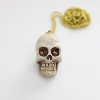 Human Head Skull Pendant with Hand-craft Painted Color / Jewelry / Necklace