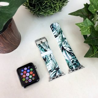Apple Watch Series 1 , Series 2 and Series 3 - Green Leaf  Printed on Genuine Leather for Apple Watch Strap Band 38 / 42 mm - 65