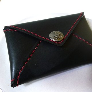 Italian cow leather hand-stitched envelope card holder - inner suede - black knight subsection (red line)
