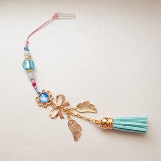Flower feather - Sky blue(handmade,gift,strap,mobile phone strap,colored glaze,burma jade,rose gold,Tibetan silver,bow-knot,wings,cute,velvet suede fringed,knots)