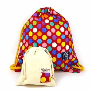 WaWu Drawstring backpack (Colorful red dot fabric)