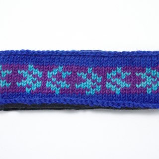 Valentine's Day gift / colorful hand-woven wool hair band / pure wool woven ribbon - blue-violet Totem (a handmade limited edition)