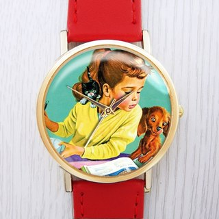 Dog Reading - Women's Watch / Men's Watch / Neutral Table / Accessories [Special U Design]