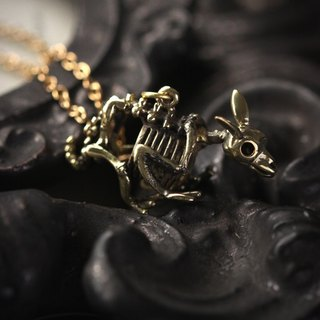 Small Rabbit Skeleton Necklace by Defy / Bunny Skeleton Charm Jewelry / Brass Metal Pendant