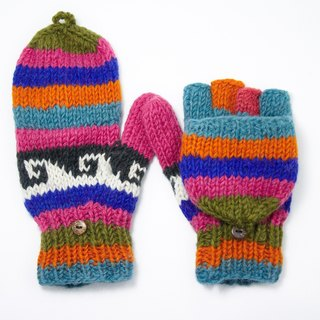 Valentine's Day gift limit a hand-woven pure wool knit gloves / detachable gloves / crochet gloves / warm gloves - pink contrast color totem