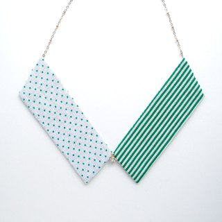 Collar Necklace| Green & White | Dots & Stripes