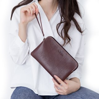 'TRIPLET GIANT' BAG/PURSE MADE OF VEGETABLE TANNED LEATHER-DARK BROWN