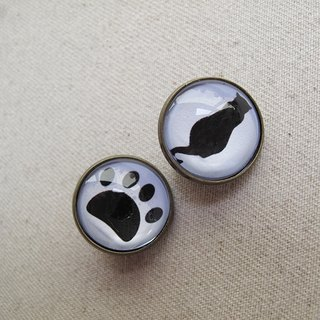 Round ear clip ear acupuncture - cat meow back + cat paw print -