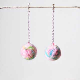 Take a small pink planet psychedelic universe take home handmade wool felt poke pin earrings