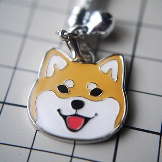 [Barn house] Shiba / red wood metal small pendant 2.5cm