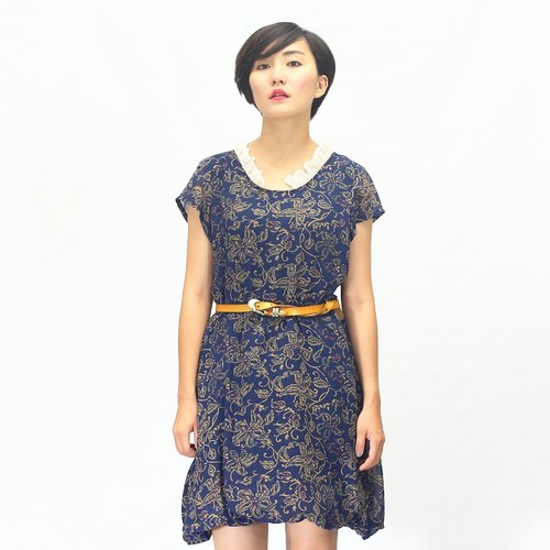 Chinese style dress/Floral Maxi Dress/blue