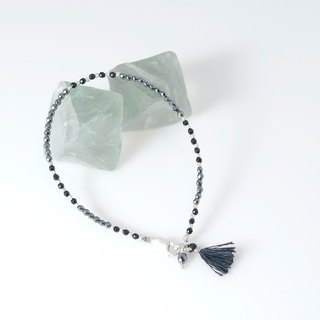 [] Summer Series ~ ColorDay Hematite / hematite <Hematite> _ black onyx <Agate> Silver Bracelets