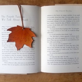 Traveler Maple Leaf Bookmark - Maple Leaf Orange Charm / Card - Free Customized Exclusive English Name / Good Sentence