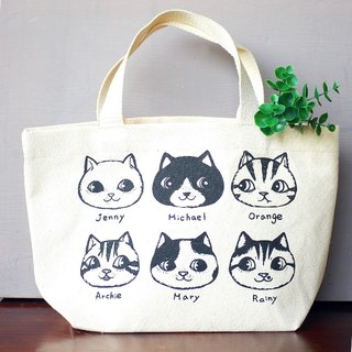 fish cat / canvas bag / lunch bag