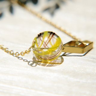 Valentine's Day gift / minimalist sense / French glass necklace - hollow brass + caramel mouth-blown glass