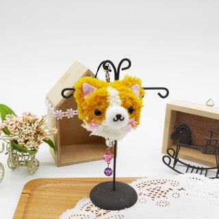 Knitting soft phone strap can be changed key ring Charm - Corgi