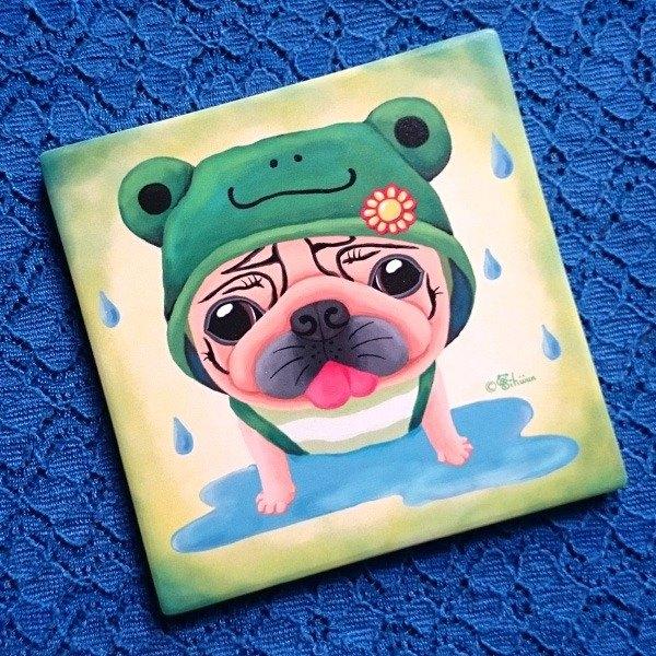 陶瓷吸水杯墊-晴雨蛙小巴