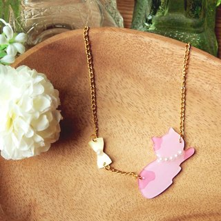 Meow fancy ribbon and pink cat necklace