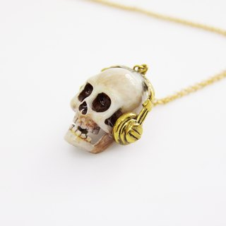 Skull with DJ Headset Pendant Necklace with Hand-Painted Color