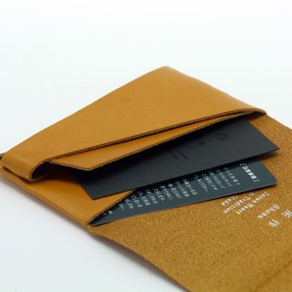 Made Shosa [Japanese handmade vegetable tanned leather] business card holder / clip - Basic / caramel