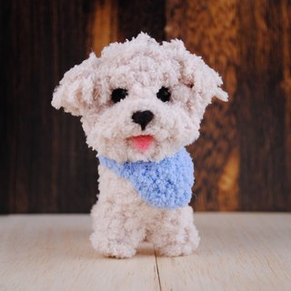 12 ~ 15cm pet avatar (feiwa Fei baby hand made cute blue collar light blue Maltese pet doll (welcome to order your dog)