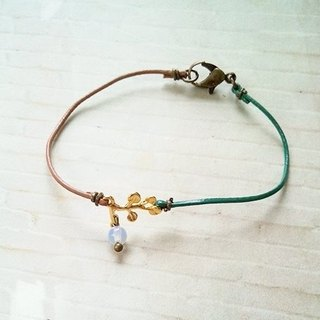 ﹉karbitrary﹉ ▲ ---⊕--- 18K Golden Bough | opal | Crystal Point | leather bracelet hand rope gift