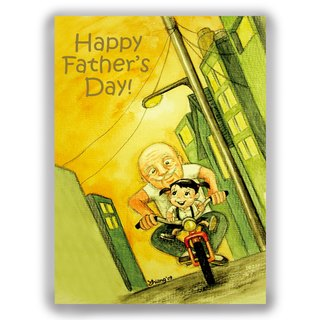 [Father's Day] Hand-painted illustrations Multiply Card Father Card / Postcard / Card / Illustration Card - Father's Day Pickup Cycling Bicycle Bicycle