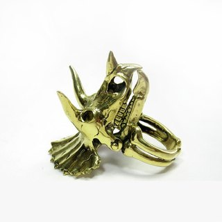 Triceratops Ring in brass color ,Rocker jewelry ,Skull jewelry,Biker jewelry