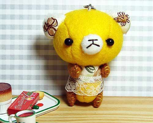 "Cheerful. Hand-stitched ""Q Bear _ quiet happiness honey yellow"" mobile phone strap / key ring (free sewing name)"