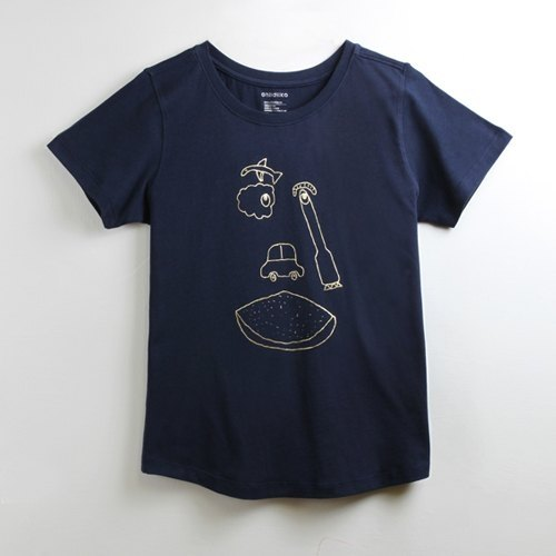 Cotton handmade hot stamping fashion T-shirt female models (family) - childlike funny facial features