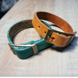 Sienna leather bracelet (Custom 1.5cm wide) * Typing