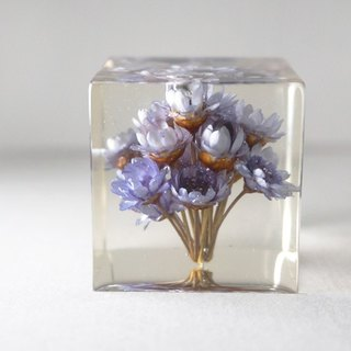 Blue flowers - dried flowers decoration three-dimensional square