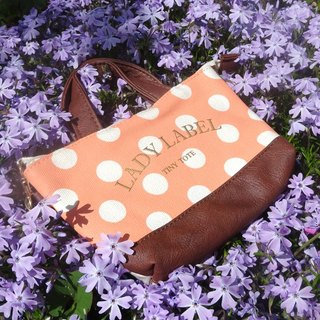&SMART. Canvas Crossbody Phone Touch Bag - Polka Dot Orange / Plaid Red PINE