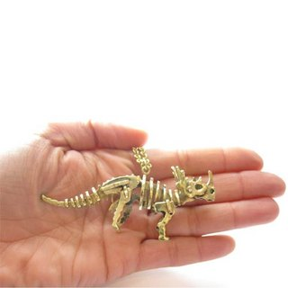 Triceratops skeleton pendant in brass with oxidized antique gold color,Rocker jewelry ,Skull jewelry,Biker jewelry