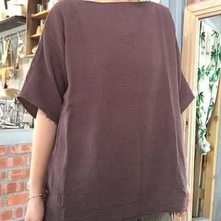 Natural hand-made clothes of natural materials washed cotton double knit brown fifth of the sleeve pocket Blouse