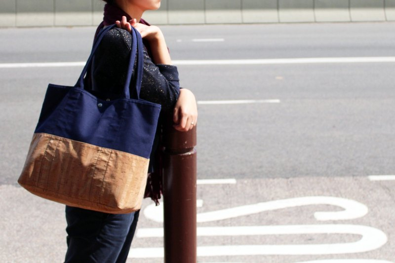 Cork Canvas Tote Bag - Blue