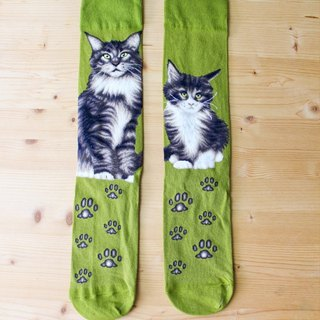 JHJ Design Canadian brand of high saturation knitting socks series Maine Coon cat (female) cute kitty cat