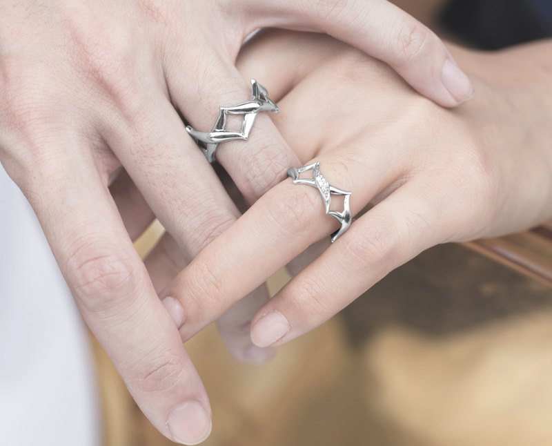60c4960bf5ec2 His and Her Promise Rings Set for Couples, Sterling silver Matching Promise  Ring