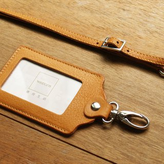 weekenlife - Leather ID card holder / badge holder with lanyard ( Custom Name )