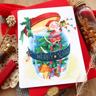 【Pin】Xmas Blessing in Bottle│Print│Christmas card with envelope at your choice