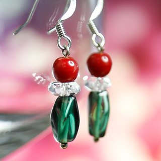 E0276 - Own design and manufacture - Natural gemstone earrings - Glass, coral, white crystal