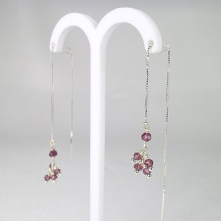 [] ColorDay garnet sterling silver earrings ear chain <Garnet Silver Earring>