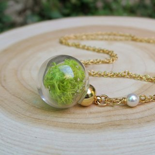 Forest - moss in a glass glass ball necklace (copper degree 234K gold small ball paragraph)