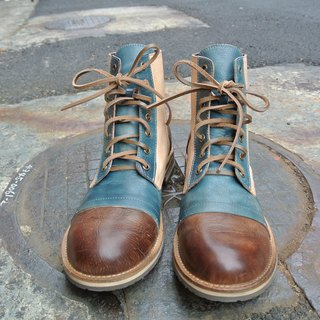# 909 men's boots urchin puzzle color boots / brown blue rice