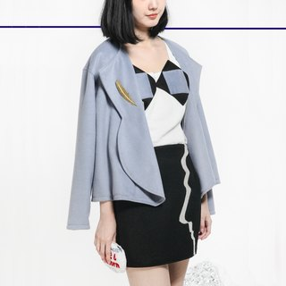 MaodiuL cat lost original design limits fashionable blue and gray wool coat and a half round neck