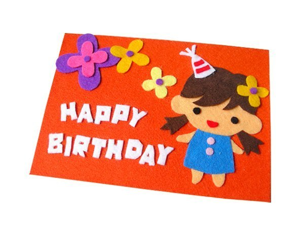 Handmade Non Woven Card Happy Birthday Girl